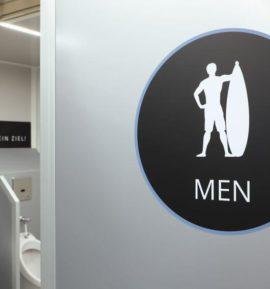 Eingang Herren - Toilettenwagen für Events -
